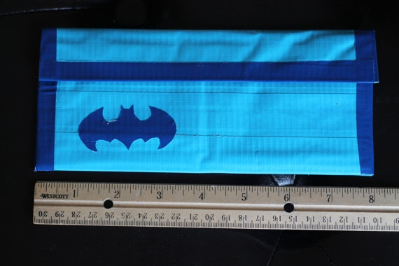Blue Batman Duct Tape Clutch Wallet by sisterscraftcorner on Etsy, $12.00: Duct Tape Clutch