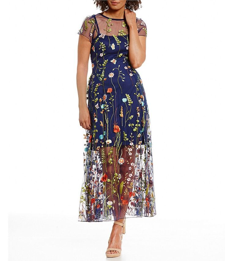 Eva Franco Floral Embroidered Illusion Hem Maxi Dress