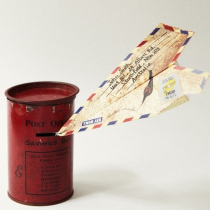 Within the TMOD Air card are instructions and pre-folded materials to build your own paper aeroplane that travels through the mail. Write your message on its wings and fly it into the post box. This product has been tested by Australia Post.