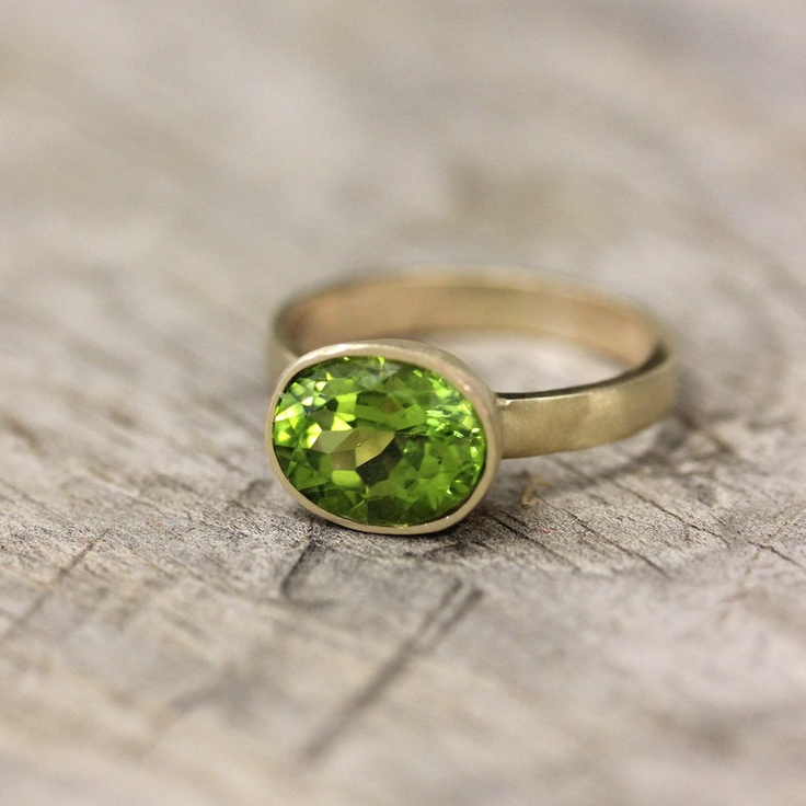 14k Gold And Peridot Ring, Gemstone and recycled Gold Ring, Made To Order.