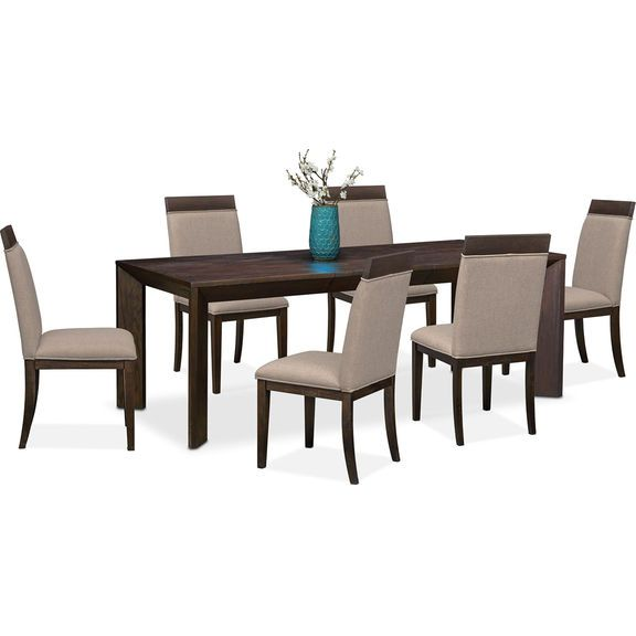 Dining Room Furniture   Gavin Table And 6 Side Chairs   Brownstone