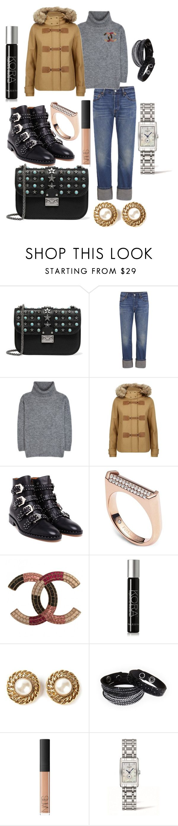 """""""Outfit Of The Day"""" by andreamartin24601 ❤ liked on Polyvore featuring Valentino, Levi's, Yves Saint Laurent, MICHAEL Michael Kors, Givenchy, FOSSIL, Chanel, KORA Organics by Miranda Kerr, Swarovski and NARS Cosmetics"""