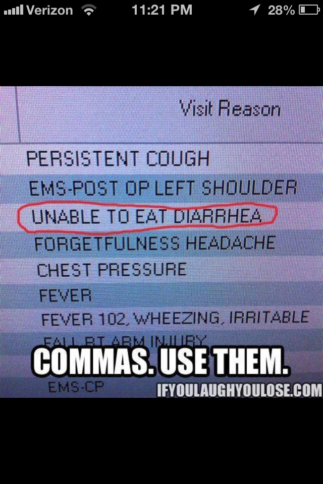 I laughed so hard! Commas are very important