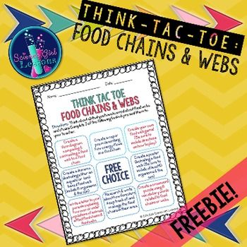 Looking for a fun, creative activity that will deepen your students insight into food webs and chains? This is a high-level Think Tac Toe, where students will be challenged to compare, create & write about their understanding of food chains and webs.
