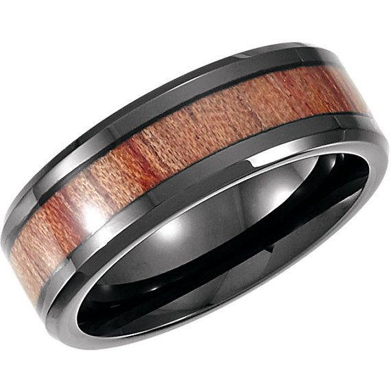 Cobalt 8mm Design Band with Rosewood Inlay Wedding by SparkleNJade