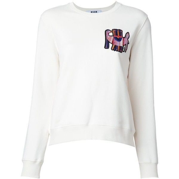 MSGM Open Back Sweatshirt (€68) ❤ liked on Polyvore featuring tops, hoodies, sweatshirts, kirna zabete, sale, white cotton tops, open back sweatshirt, white cotton sweatshirt, msgm and white open back top