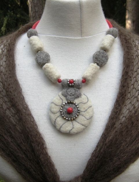 FELTED NECKLACE Needle Felted Maritime Wearable Art Eco