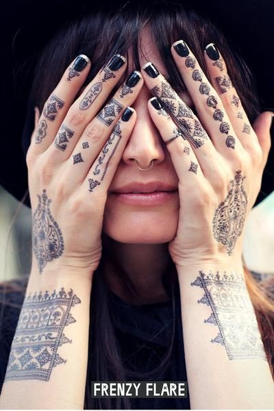 Black henna temporary tattoo. Floral design mehndi. DIY henna temporary tattoo. Just add water. Great for kids and adults. One big sheet contains several designs to be used together or separately. Inc