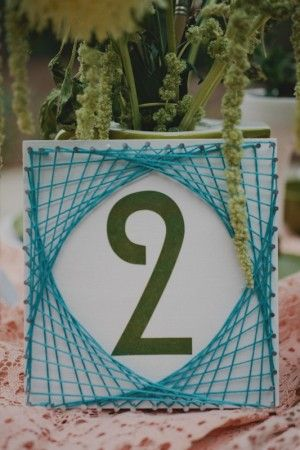 love this table number!  Wedding Day Of Stationery Ideas: Mid Century Modern via Oh So Beautiful Paper