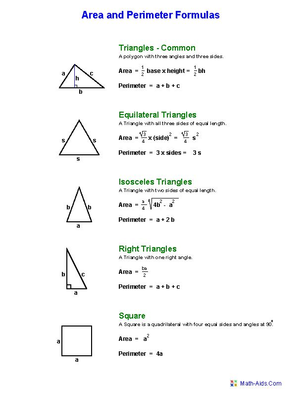 Area and Perimeter Formula Worksheets | Education ...