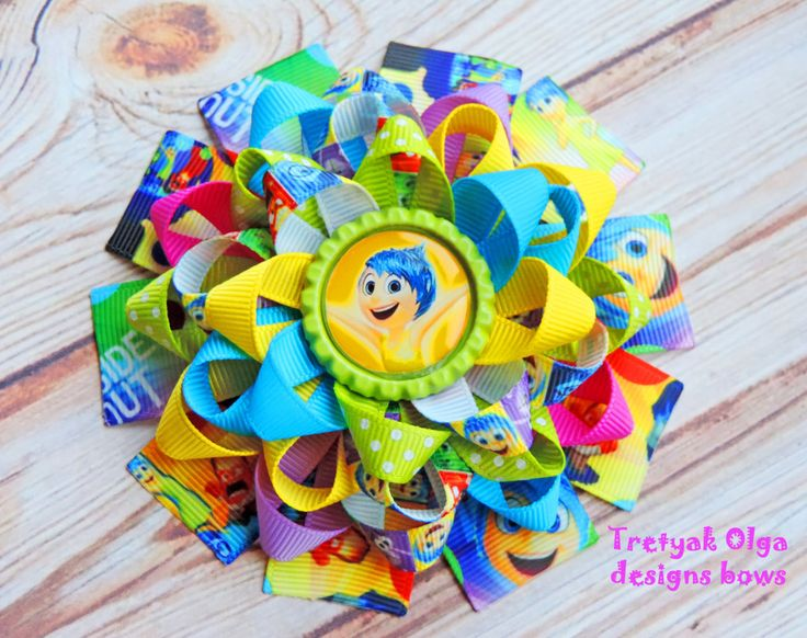 Inside out Hairbow - Joy Inside out- Inside out party- Joy hair bow- inside out bow -Inside out outfit- Loopy hair bows by TretyakOlgaBows on Etsy