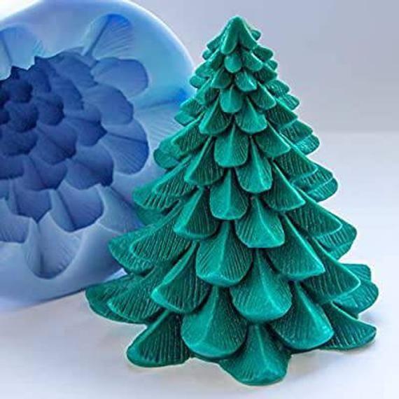 3d Large Christmas Tree Xmas Santa Father New Year Silicone Etsy In 2020 3d Christmas Tree Large Christmas Tree Soap Molds