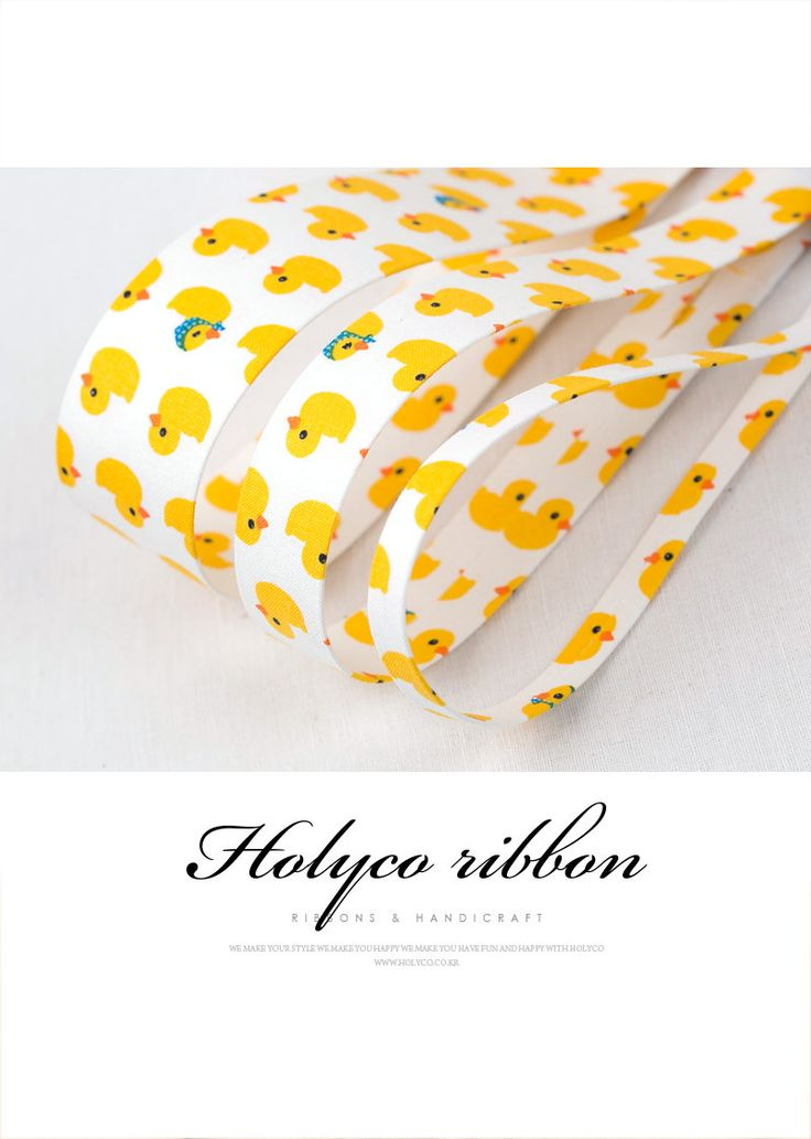 """Yellow Baby Ducks Fabric Folding Ribbon / 3/8""""(10mm), 1""""(25mm), 1.5""""(40mm) / made in Korea by HOLYCO on Etsy"""