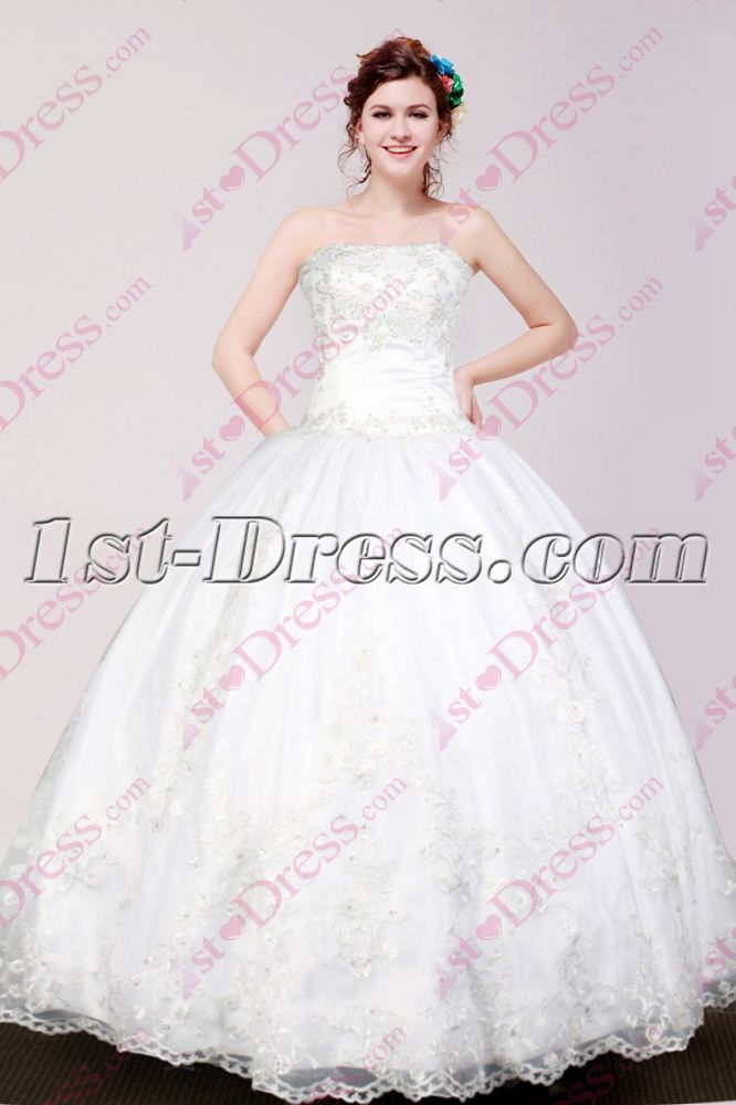 1st Dress Offers High Quality Lovely White Ball Gown For Sweet 15