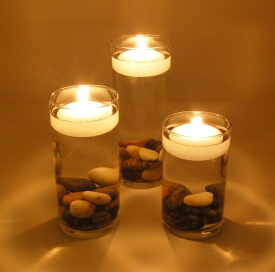 floating candle with stones dinner wedding centerpiece beach theme                                                                                                                                                                                 More