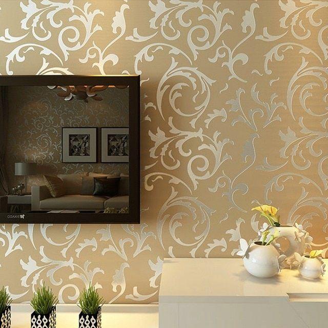 Luxury Grey Silver Leaf 3d Steroscopic Wallpaper For Walls Roll