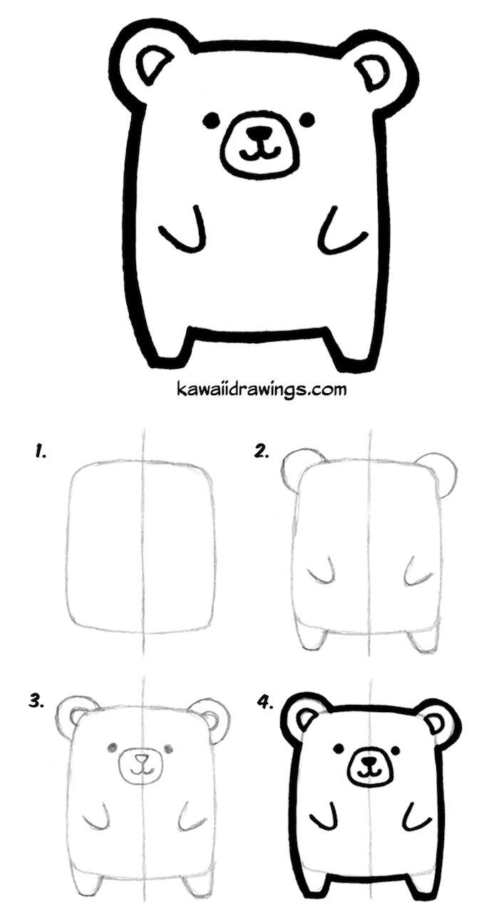 exemple dessin facile a faire pour debutant ourson mignon à dessiner à partir un rectangle et