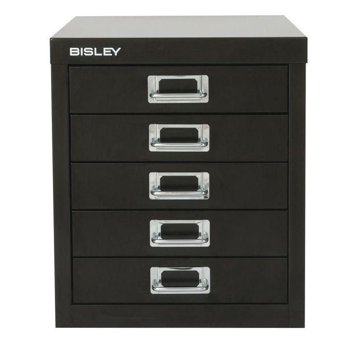 Bisley Steel 5-Drawer Desktop Multidrawer Storage Cabinet - MD5-BL