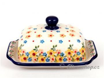 Spring design BUTTER DISH . This Traditional Handmade Polish Pottery dish is from ELIMAshop.cz . It was handpainted in Boleslawiec  . Bunzlau . ceramics . stoneware . ( máslenka - ELIMAshop.cz . jaro )