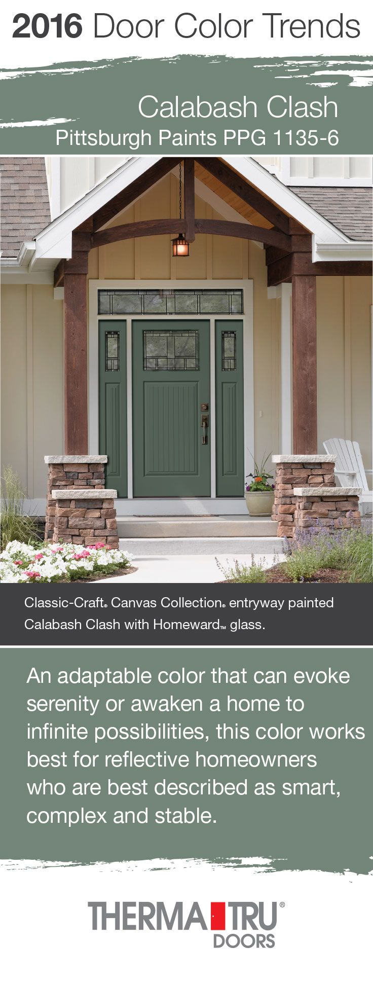 Calabash Clash by Pittsburgh Paints – one of the front door color trends for 2016 – shown here on a Classic-Craft Canvas Collection door from Therma-Tru.  #FrontDoor #CurbAppeal #Color  http://www.thermatru.com