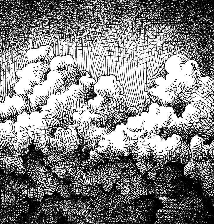 Clouds, hatching technique