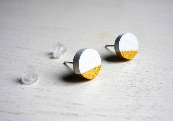 Orecchini cerchio bianco e oro, orecchini a lobo, orecchini in legno, orecchini minimalisti, orecchini moderni