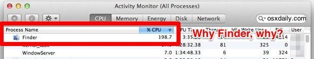 Finder high CPU use and sluggish behavior