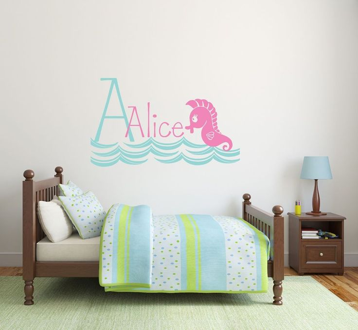 Name Wall Decal Waves Vinyl Sticker Personalized Girl Decal Seahorse Decor aa368 #DecalHouse