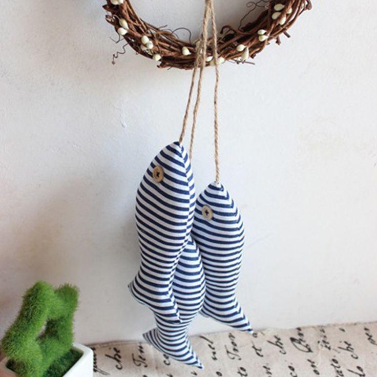 3pcs/set Mediterranean Style Linen Cloth Fish Hanger Bunch Nautical Decor 3D…
