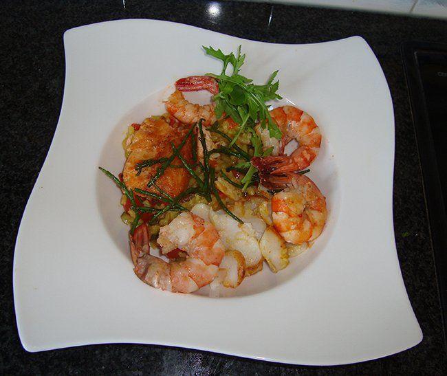 Recept voor Risotto met zeevruchten en Mediterane groentjes. Meer originele recepten en bereidingswijze voor visgerechten vind je op gette.org.