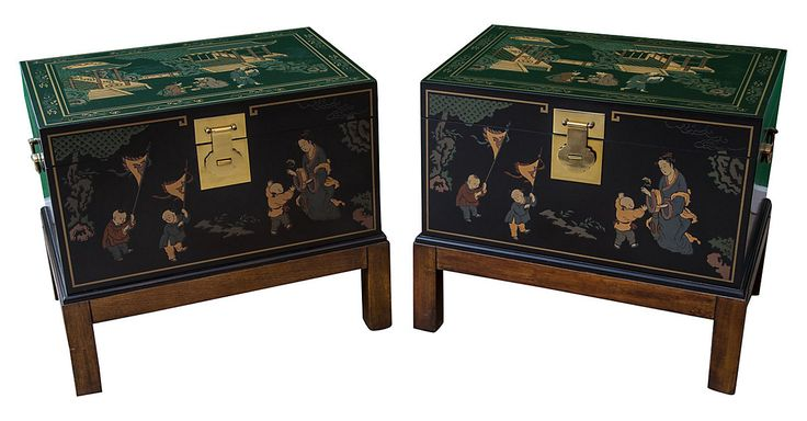 Pair of small trunks with chinoiserie motifs on attached stand side tables. Part…   [L]