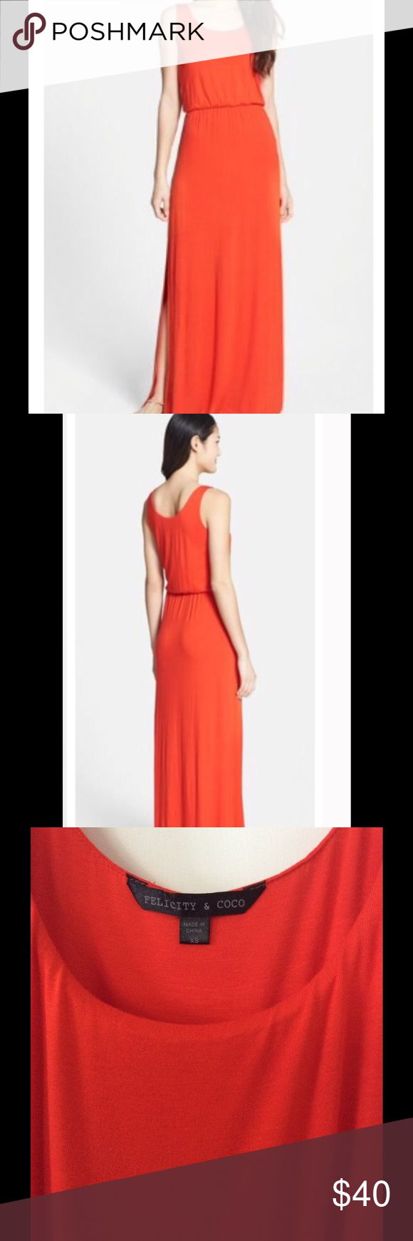 Felicity and Coco Red Jersey Maxi Dress Size XS Felicity and Coco Jersey Tank Maxi Dress in Red. Slits on both sides. Super cute and great for summer! Purchased from Nordstrom. In amazing condition- Only wore once. Felicity and Coco Dresses Maxi