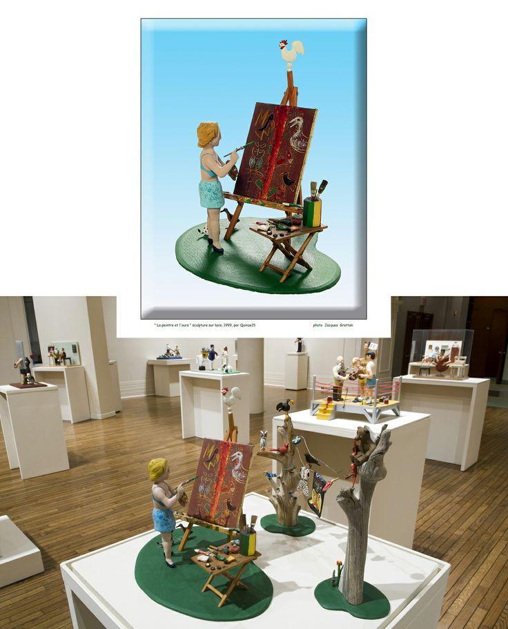 """"""" La peintre et l'ours """" une sculpture de Quinze"""