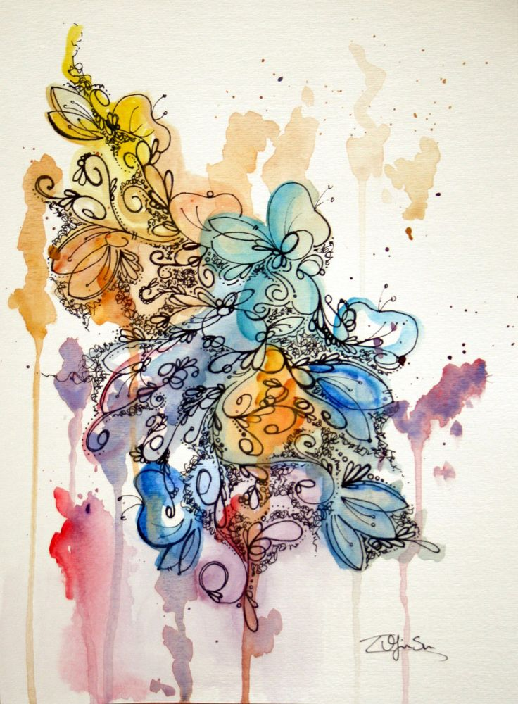 Original Watercolor Abstract Painting - Bold Colorful Illustrative Flowers -  9 x 12. $35.00, via Etsy.
