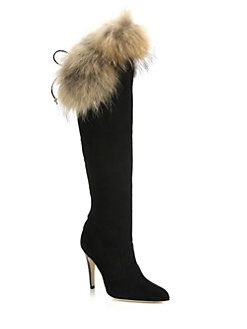 Manolo Blahnik - Likansk Fur-Trimmed Suede Knee Boots