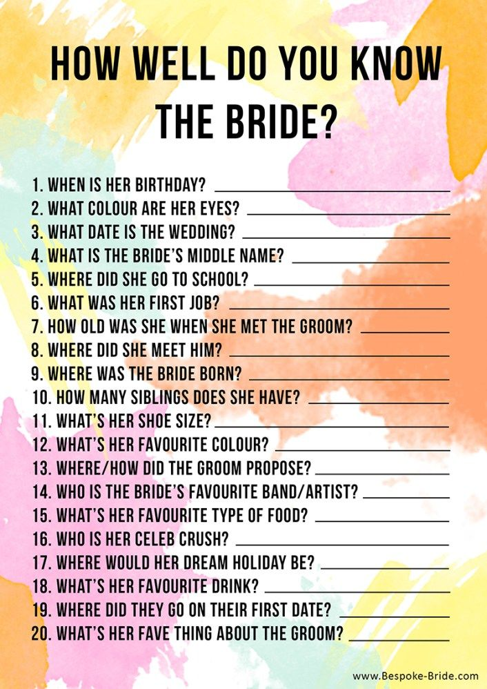 How well do you know the bride? Free printable Games & quizzes that don't suck for your bachelorette, bridal shower or hen party. More