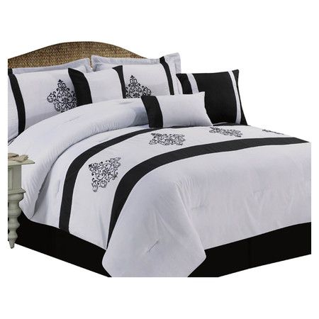 Found it at Wayfair - Cameo 7 Piece King Comforter Set in Black