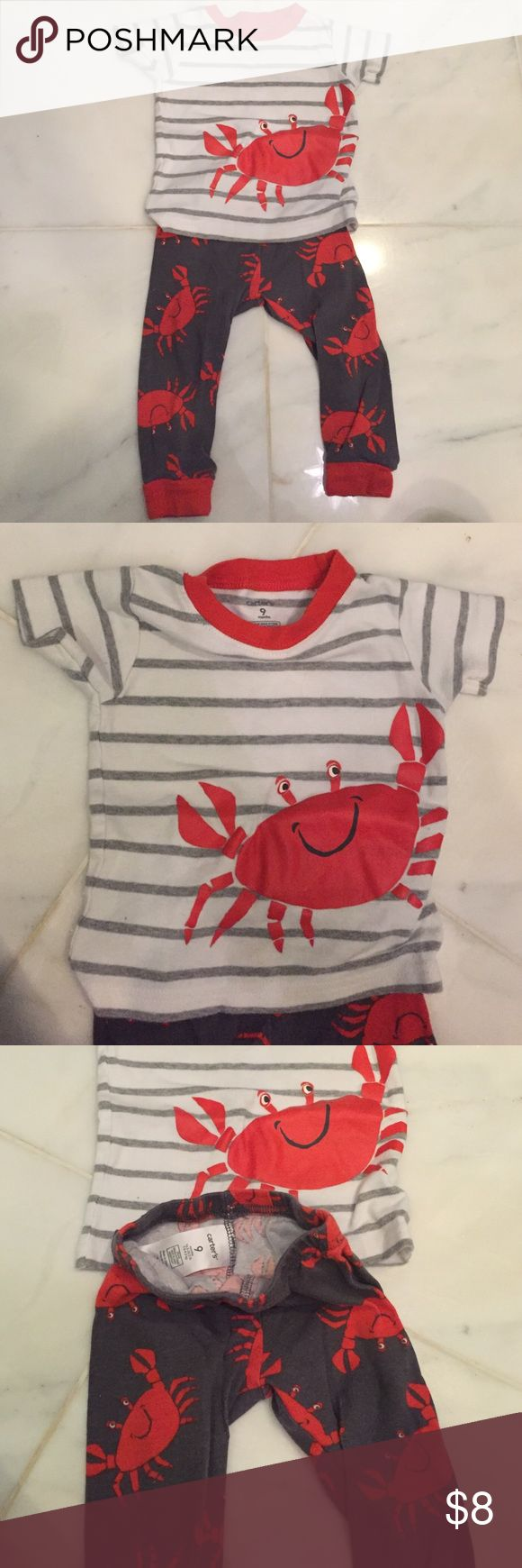 Crabby pjs - Carters Love this set! Adorable on! In great used condition. No stains that I can see. Smoke free dog loving home. All sales go to funding my Christmas gifts for my two little boys ❤️ bundle and save on my other kid clothes. Thanks for looking and happy holidays☃ Carter's Pajamas Pajama Sets