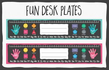 Fun desk plates in 2 color options - Pink and Blue. Includes Number Line, Left…