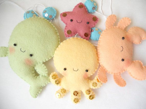 PDF pattern Four cute sea creatures octopus whale by iManuFatti