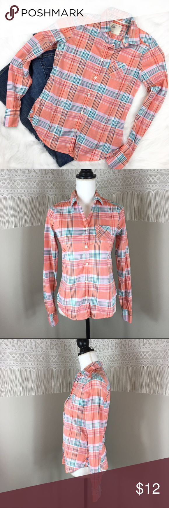 American Eagle Plaid Button Down American Eagle Plaid Button Down. Size 0. Approximate measurements flat laid are 24' long,  16 1/2' bust, and 25' sleeves. GUC with small stain on back as pictured. Perfect back to school shirt! ❌No trades ❌ Modeling ❌No PayPal or off Posh transactions ❤️ I 💕Bundles ❤️Reasonable Offers PLEASE ❤️ American Eagle Outfitters Tops Button Down Shirts