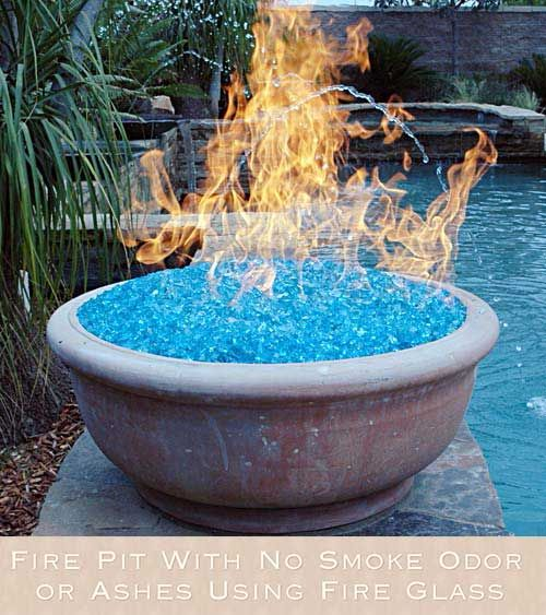 Fire Pit With No Smoke Odor Or Ashes Using Fire Glass