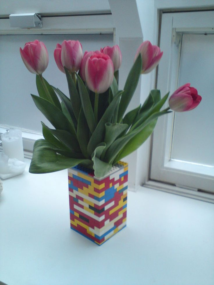 Lego + flowers = awesome piece of furniture