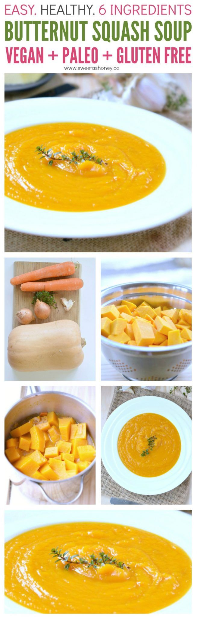 Easy Healthy Butternut Squash Soup with only 6 ingredients. Vegan Recipe, paleo friendly, gluten free and clean eating approved. A kids favorite soup.