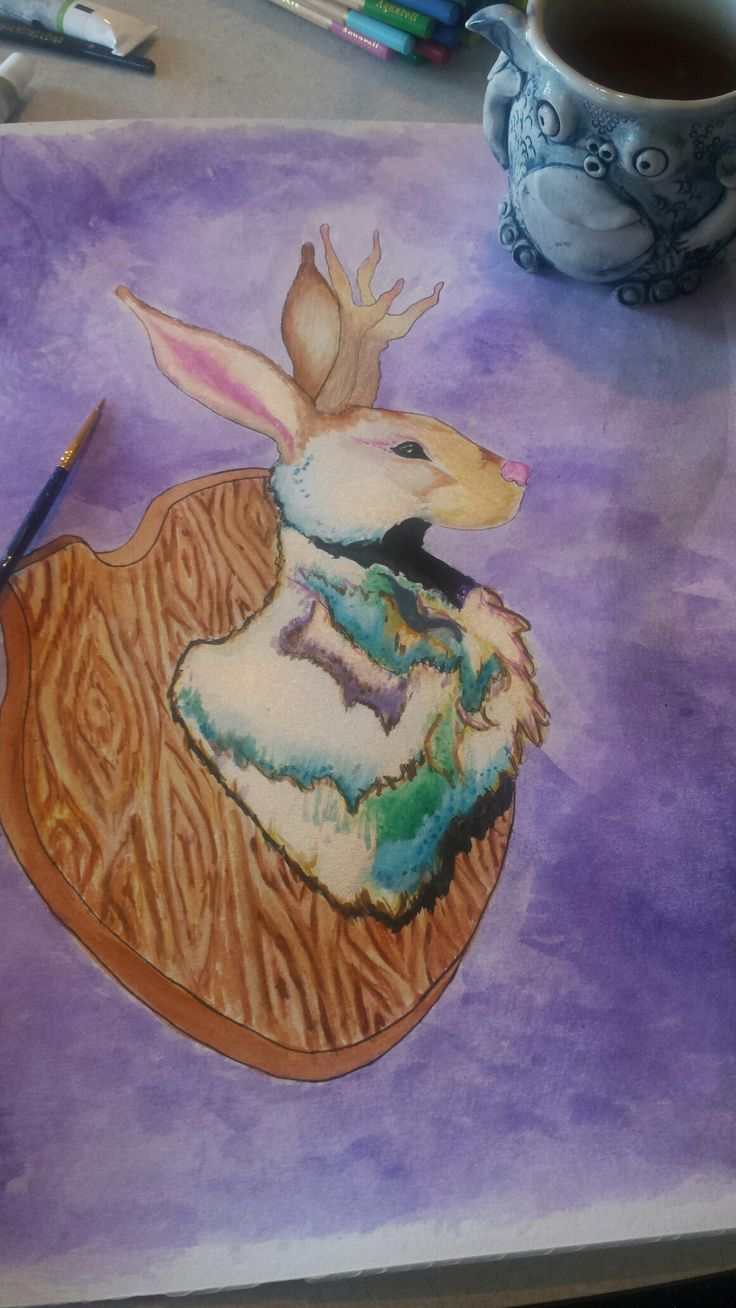 Jackalope painting. Watercolour. Pearlescent.