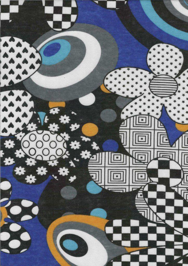 3138 - абстр. цветы+круги+шахматы 2-нитка OE 100% х/б; 180 см; 190 гр; начёс - 7 $