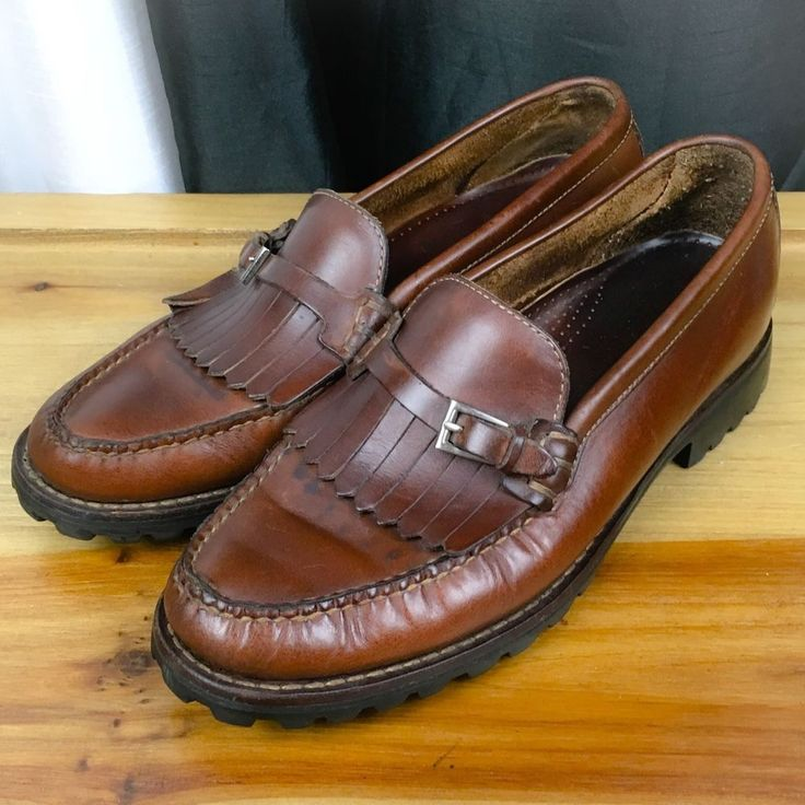 COLE HAAN Women's Shoes ~ Brown Leather Pinch Kiltie Fringe Loafer ~ US 8 M
