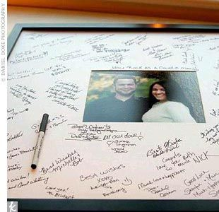 "Guest book idea: Instead of a traditional guest book, Shayna and Marc's guests signed the oversized mat around one of their engagement photos. ""I loved this idea when I saw it,"" Shayna says. ""I plan to hang it on the wall for years of memories."""