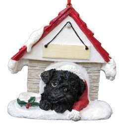 Black pug doghouse ornament. Save 15% now. All proceeds benefit Pug Rescue Network.
