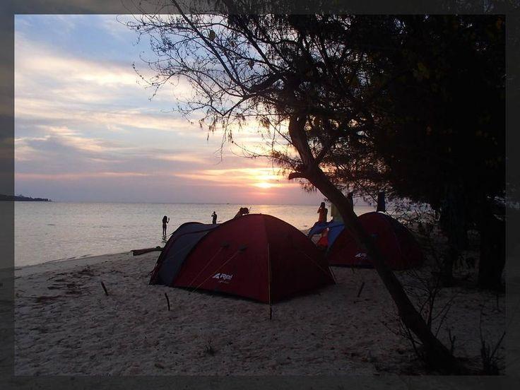 sunset when camping at karimunjawa islands
